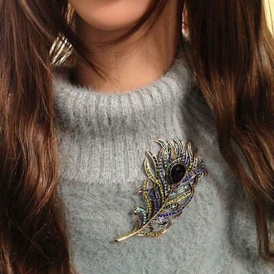 Dazzling Peacock Feather Alloy Brooch Fashion Jewelry Accessory For Ladies S#