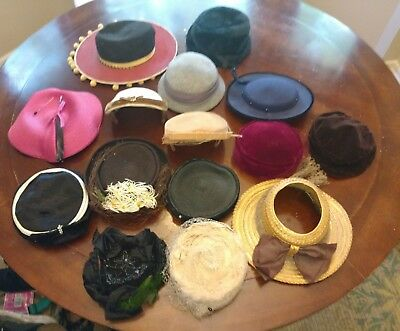 40's - 50's Lot Of 15 Ladies Hats Pill Box , Straw, Cloche, All For No Reserve!!