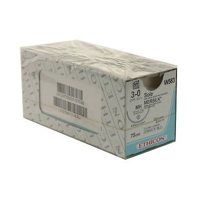 W212 Mersilk Non Absorbable 13 x 60cm Coated Braided Black 3/0 Suture