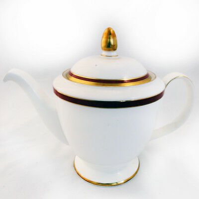"""SATURN RED by Minton Tea Pot 7"""" tall NEW NEVER USED made in England"""