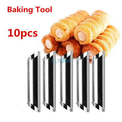 10pcs Non-Stick Danish Bread Cannoli Croissant Mold Tubes Decor Puff Baking Tool