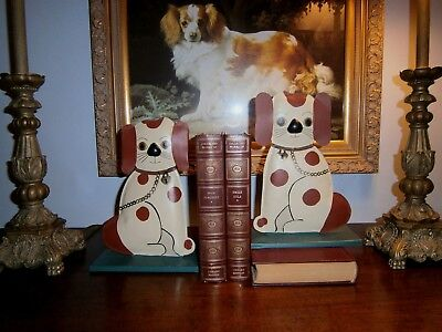 """Hand Painted & Signed Cavalier King Charles Spaniel WHIMSICAL Tin Bookends 7X10"""""""