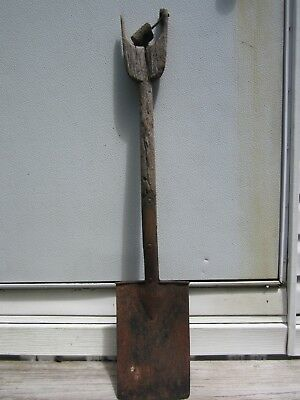 antique primitive sand coal shovel wood handle rusty farm railroad tool decor