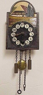 Vintage Miniature Hand Painted Wooden Face German Key Wind Pendulum Wall Clock