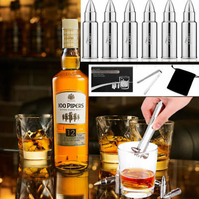 6X Stainless Steel Whiskey Stone Ice Cube Cooling Chillers +Bag  +Plier Reuseble
