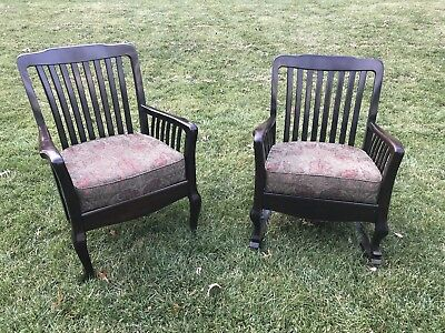 Matching Pair of Chairs; One Straight, One Rocker. c. 1920's. Restored
