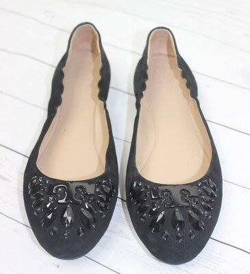 d2da8f979a80 TORY BURCH DELPHINE Crystal Logo T Suede Ballet Flat Royal Navy Blue ...