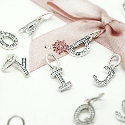 Genuine Pandora Alphabet Bracelets Pendant Letter Charm Silver Dangle All - A-Z