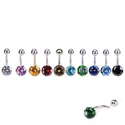 Navel Belly Button Ring Barbell Rhinestone Crystal Ball Piercing Body Jewelry RS