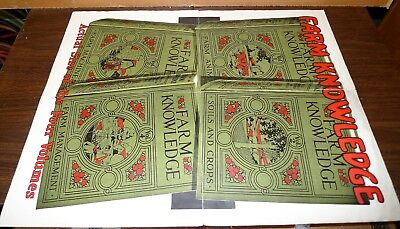 """RARE ANTIQUE FARM KNOWLEDGE SEARS ROEBUCK Co. 2 Sided Advertising Poster 22""""x17"""""""