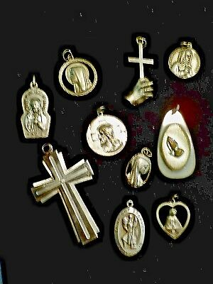 Lot of 10 VINTAGE RELIGIOUS MEDALS/CRUCIFIX - 2 Sterling Silver Religious Charms