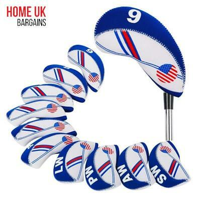 Pack of 10 Golf Club Iron Head Covers Wedge Pu Leather Headcovers Set Ping USA