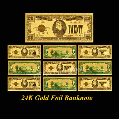 10PC US $20 Dollars 1928 Year Banknote 24k Gold Foil Monye Collectible Art Gifts