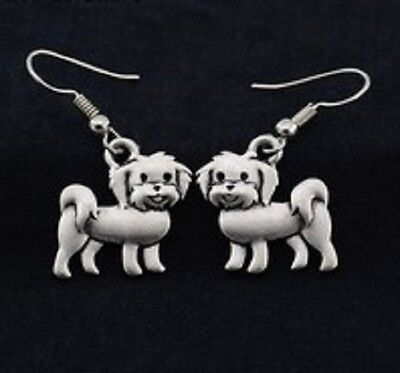 MALTESE DOG Charm, Pendant Pierced Hook, Ball Stud Earrings - R218