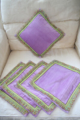 "Five Gorgeous Vintage 12"" Square Mauve Velvet Cushion Covers New Old Stock."