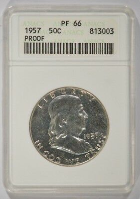 United States 1957 Proof Franklin Silver Half Dollar 50c ANACS PF66 813003