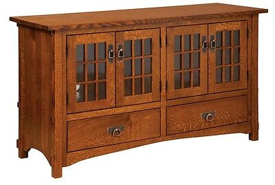 Amish Mission Rustic TV Stand Plasma Flat Screen Cabinet Storage Wood Tenons