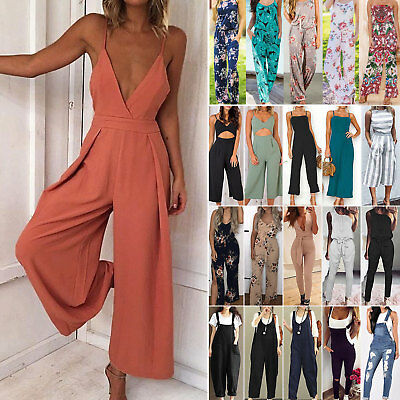 Boho Womens Strappy V Neck Backless Holiday Playsuit Dress Long Beach Jumpsuit