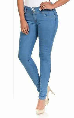 High Waist  Stretch Push-Up Colombian Style Skinny Jeans in M. blue B925