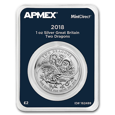 2018 Great Britain 1 oz Silver Two Dragons (MintDirect® Single)