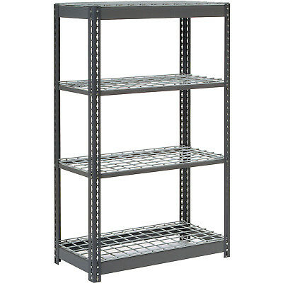 "Boltless Heavy Duty Shelving 48""W x 12""D x 60""H, 4 Shelves, Wire Deck, Lot of 1"