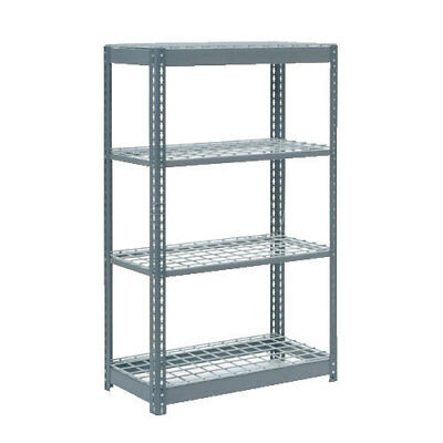 "Boltless Heavy Duty Shelving 36""W x 24""D x 72""H, 4 Shelves, Wire Deck, Lot of 1"