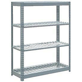 "Boltless Heavy Duty Shelving 48""W x 12""D x 72""H, 4 Shelves, Wire Deck, Lot of 1"