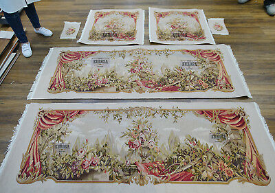 Shabby Chic Floral AUBUSSON SILK WOOL Hand Woven Royal Palace Sofa Chair Cover