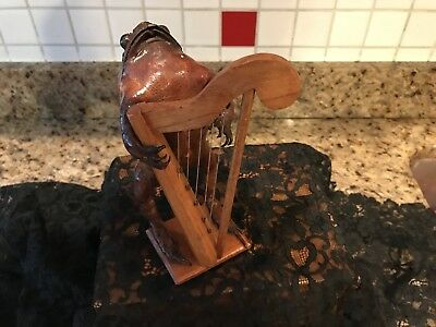 Folk Art Taxidermy Standing  Stuffed Frog Playing A Harp On Wood Base