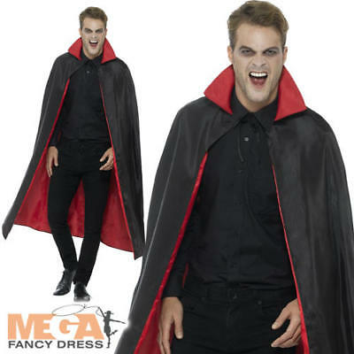 Reversible Vampire Cape Mens Women Fancy Dress Halloween Adult Costume Accessory