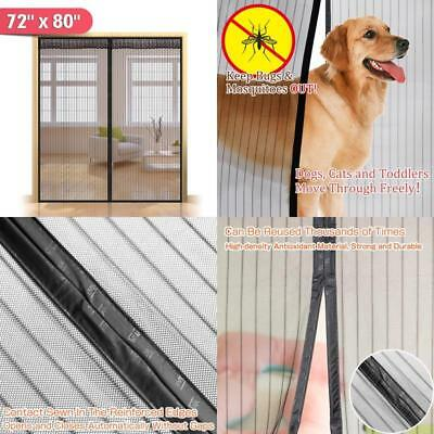 """72""""(W) X 80""""(H) Hands Free Magnetic Screen Door For French Doors,Full Frame Bug"""