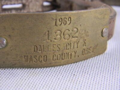1969 Dog License Dalles City  Oregon Wasco County Ore. W/ Two Leather Collars