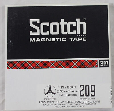 """Scotch 209 Reel to Reel Recording Tape 1/4"""" x 1800 ft. Low Print / Low Noise"""