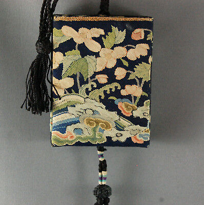 Antique Chinese EXPORT Silk Kesi Kossu Purse Pouch Tassel Rank Badge Tapestry