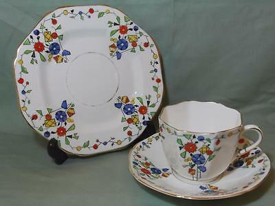 Vintage Sutherland China Carnival Trio Tea Cup Saucer & Side Plate Patt. No.1318