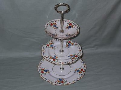 Vintage Sutherland China Carnival 3-Tier Hostess Cake Plate Stand Patt. No.1318