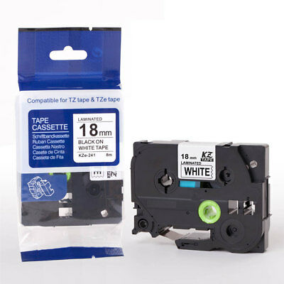 Compatible For Brother P-Touch Laminated Label Tape Tze241 18mm Black on White*