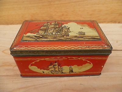 Vintage Old Red Ship Scene Lolly, Biscuit Tin, (A526)
