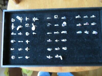 Sterling Silver Rings 925 lot 47 new and various styles and sizes.  WITH CASE