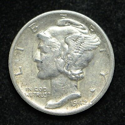1942-S Mercury Silver Dime Cleaned (bb435)