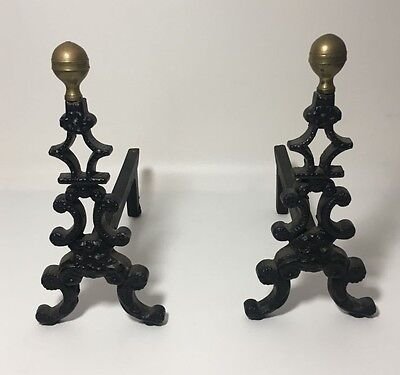 2 Antique Cast Iron Andirons Fire Place Irons Christmas Tree Shape Brass Top
