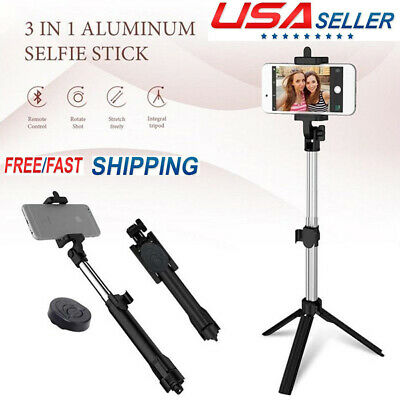 Handheld Tripod Monopod Selfie Stick + Bluetooth Remote for iPhone X Android USA
