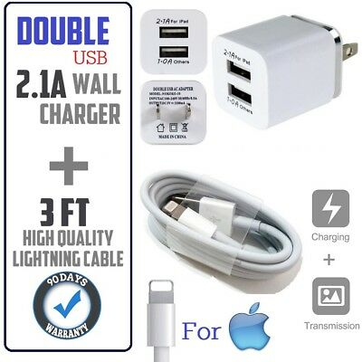 3ft Cable + Double USB CUBE Wall Charger Power Cord for iphone SE,5s,6s,7,8,X