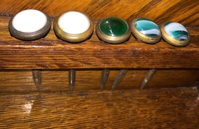 Lot Of 5 Antique Glass Curtain Nails Green & White