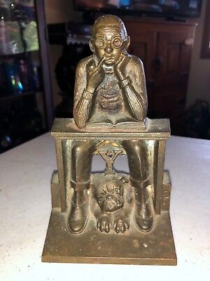 Vintage Man at a Desk with Bull Dog Door Stop / Book End Yale ?