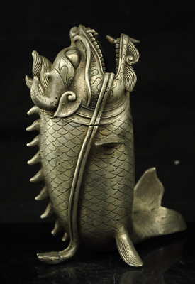CHINES old copper plating silver DRAGON HEAD FISH STATUES INCENSE BURNER f01