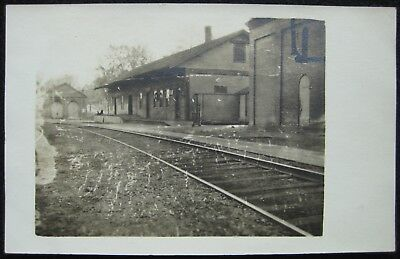 Railroad Depot Train Station Garage RPPC 1904-1914 Real Photo Postcard