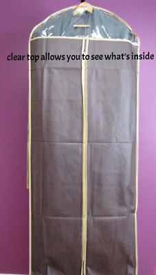 "3pcs Garment Bags 58"" for Dress/Gown/Long Coat,w/Transparent Window,Brown,NEW"