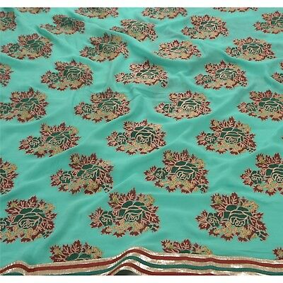 Tcw Vintage  Saree Pure Georgette Silk Hand Embroidered Fabric Premium Sari
