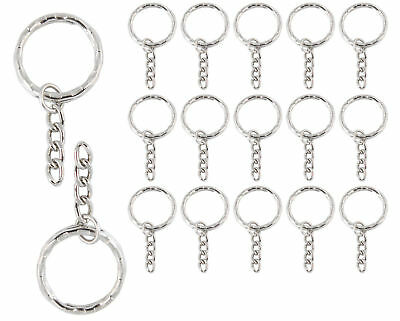 100Pcs Keyring Blanks Silver Tone Key Chains Findings Split Rings  Link Chain A+